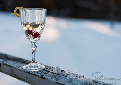 Glass of mead with berries