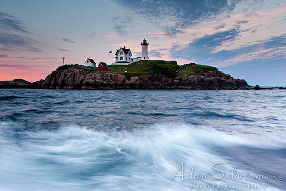 Nubble Lighthouse in Maine at sunset