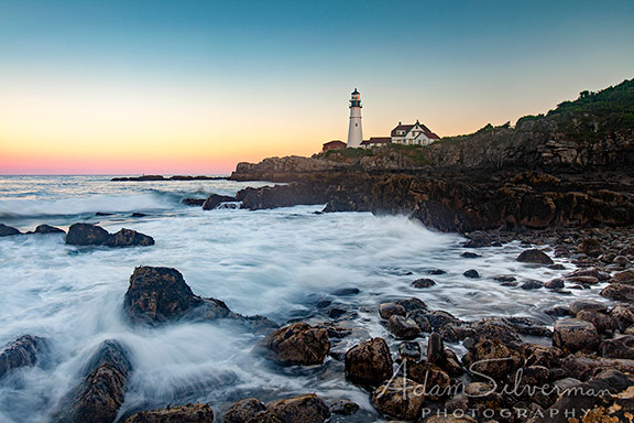 Portland Head Light in Maine at Sunset