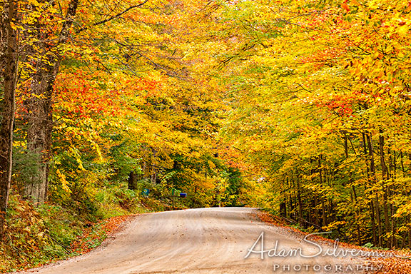 Vermont road with fall foliage