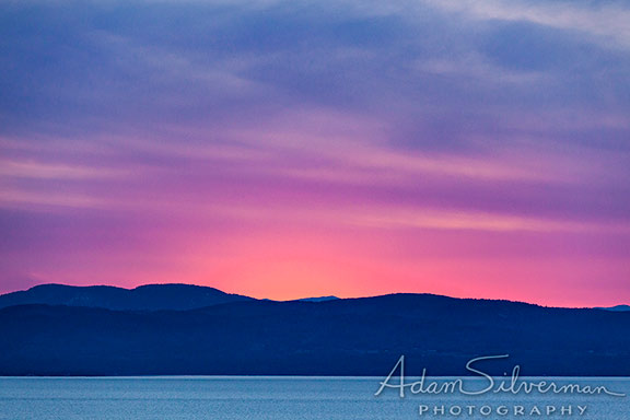 Glowing sunset over Lake Champlain in Vermont