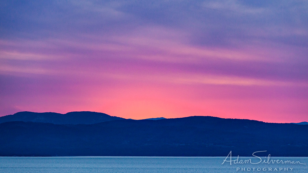 Vermont sunset over Lake Champlain with beautiful colors.